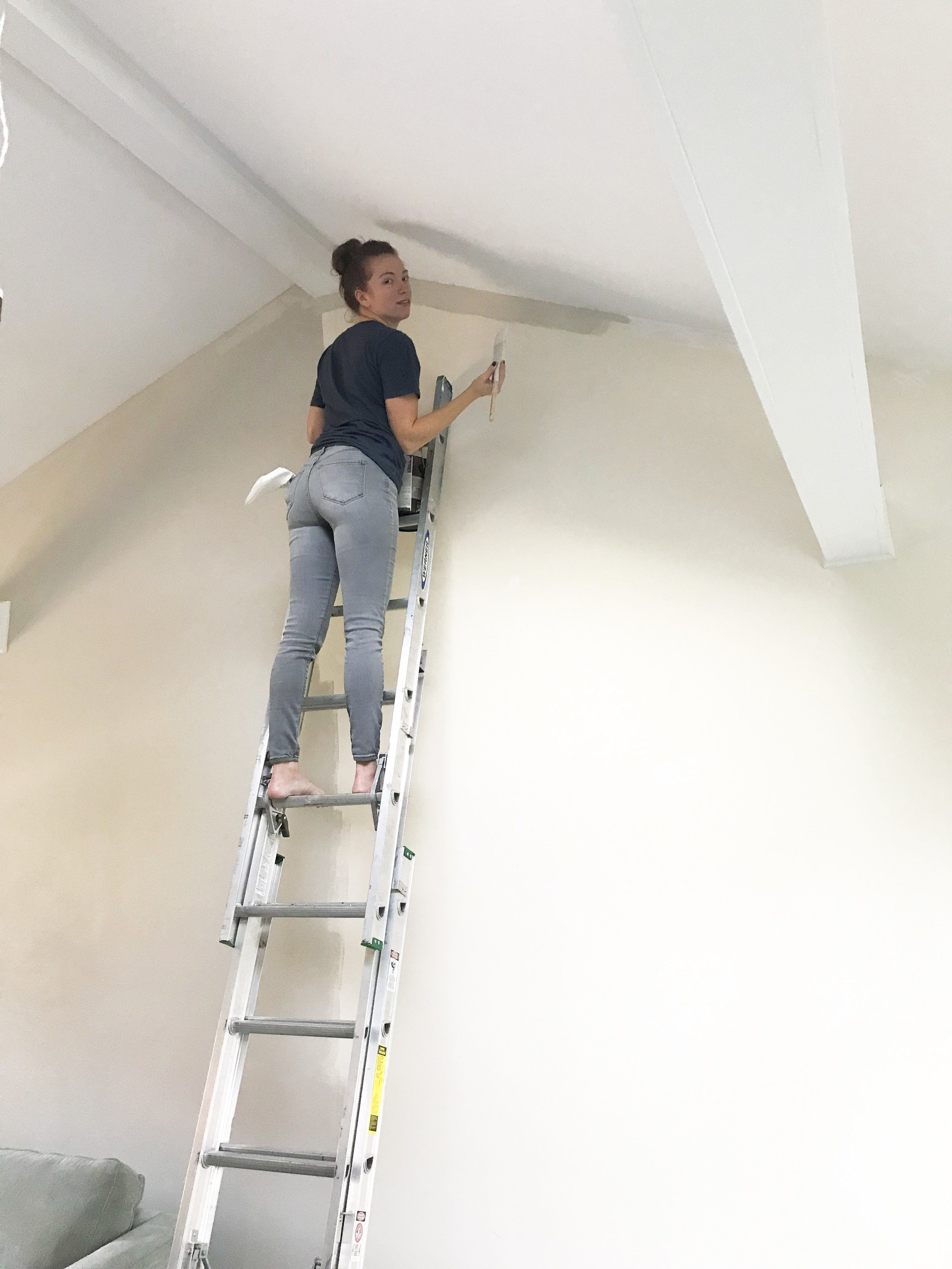 painting cathedral ceilings and walls-family room makeover