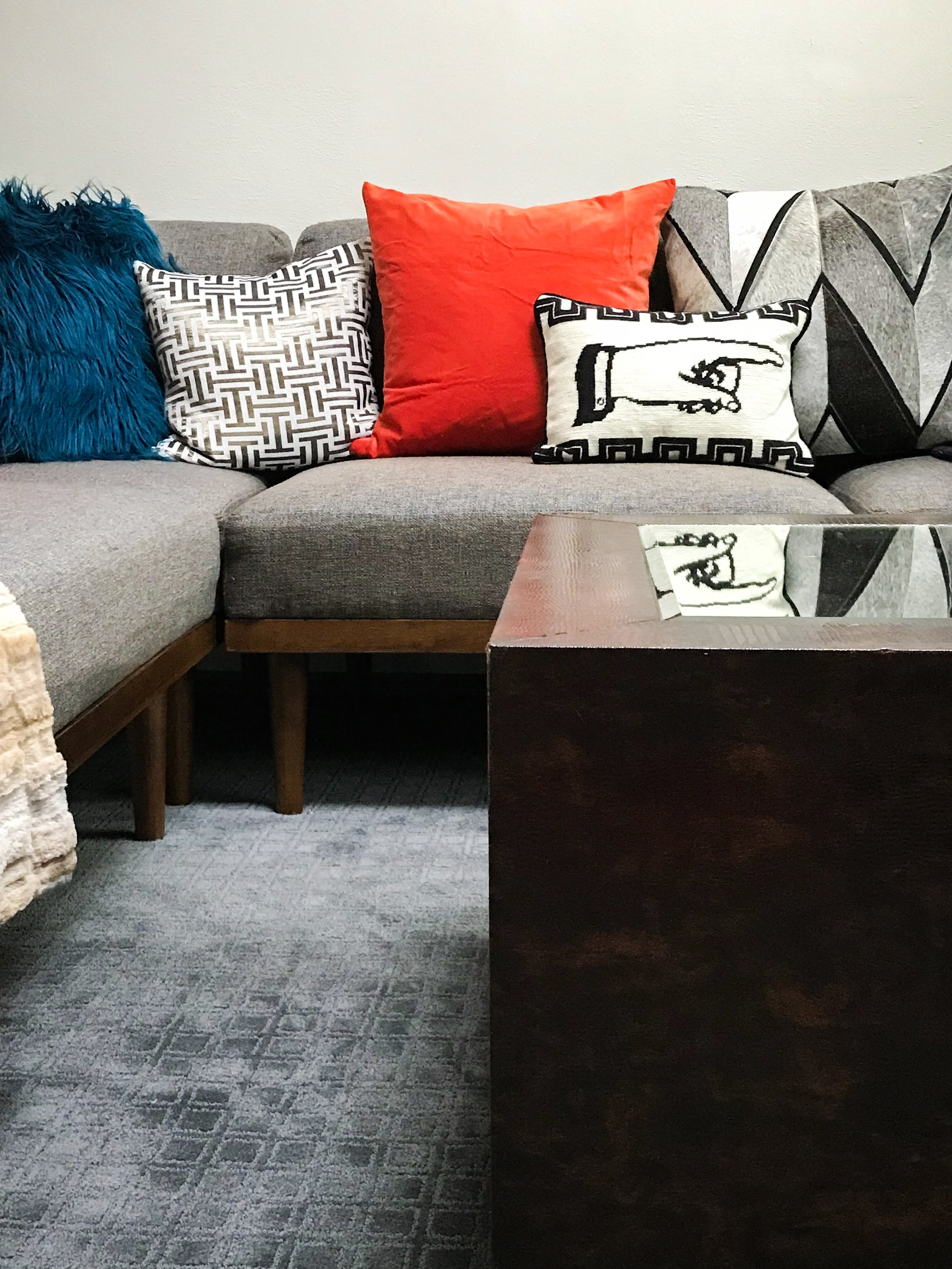 family room makeover with pops of color mid century modern the rath project