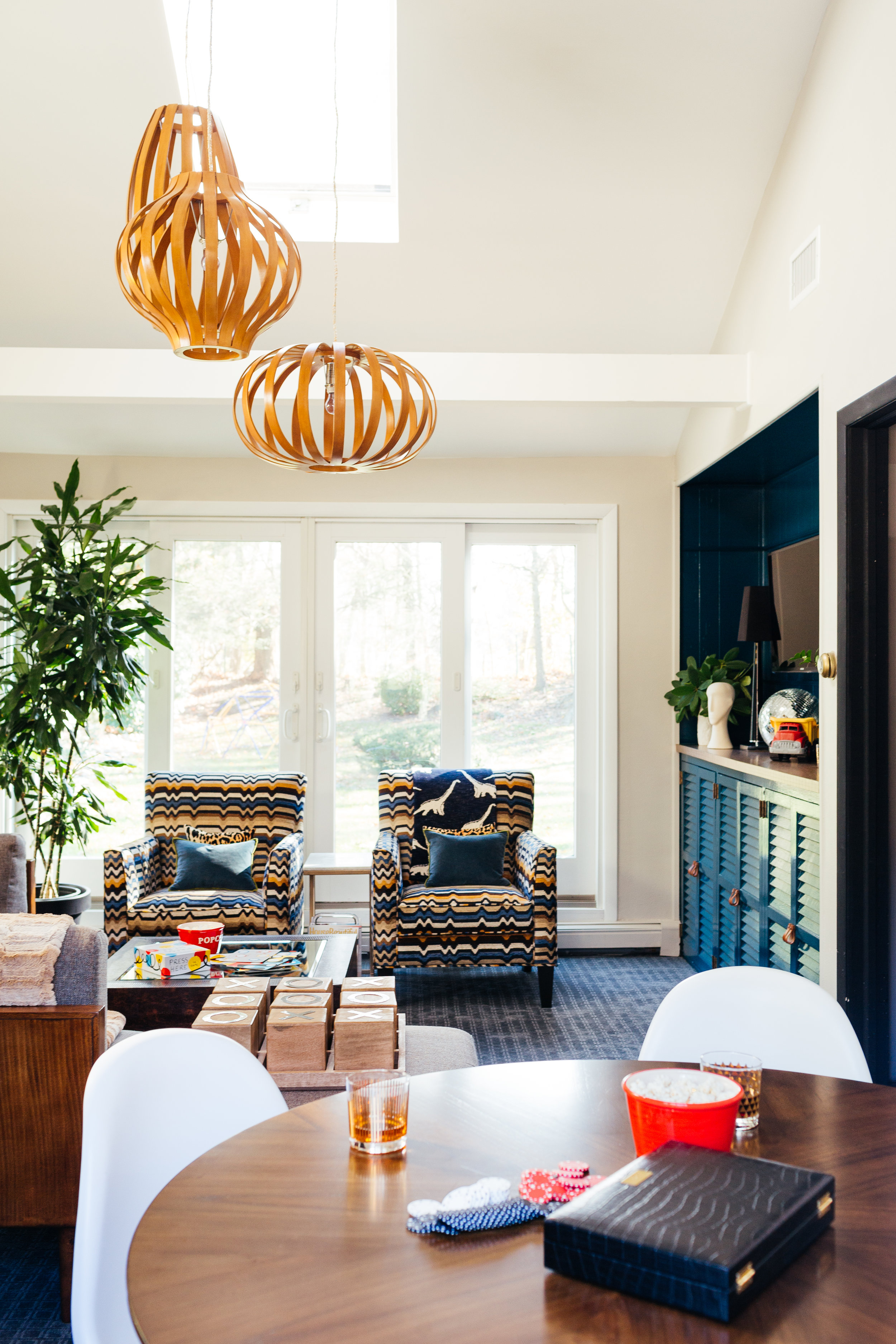 modern eclectic colorful family room design by the rath project