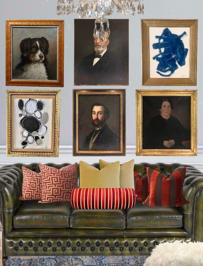 gallery wall in masculine maximalist room using chairish app design by the rath project