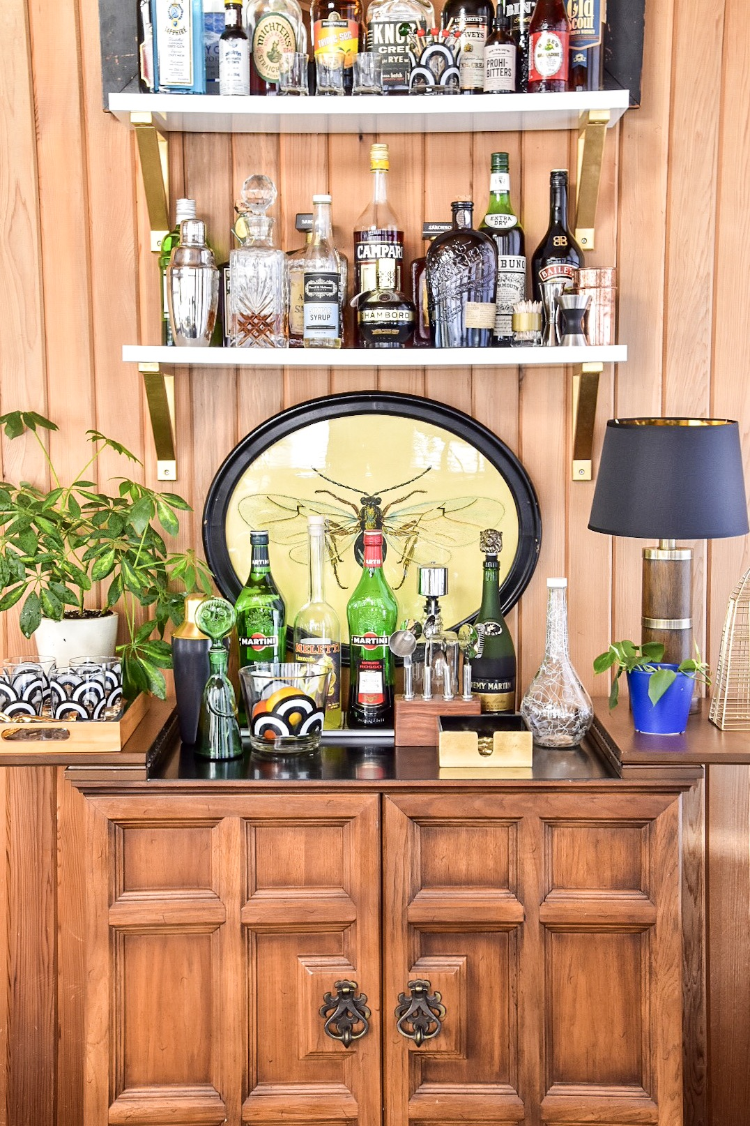 Eclectic Mid Century styled bar by The Rath Project