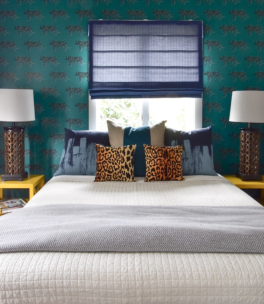 Global Guest Room with removable wallpaper designed by the Rath Project