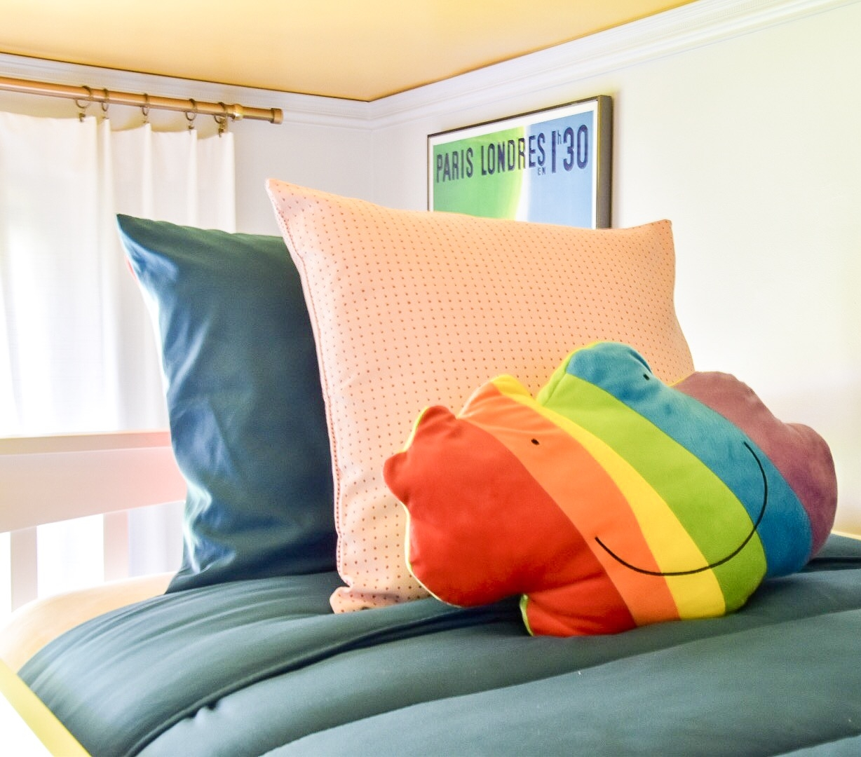 Eclectic modern Colorful kids room with rainbow bedding by Diane Rath The Rath Project