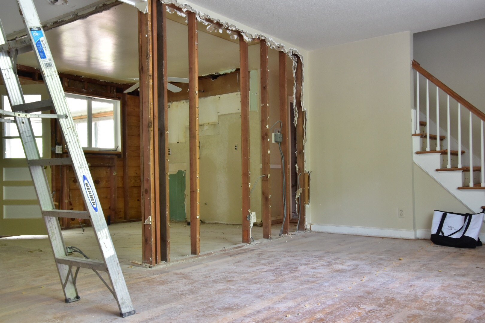 demo of kitchen and dining in Fairfield flip by The Rath Project
