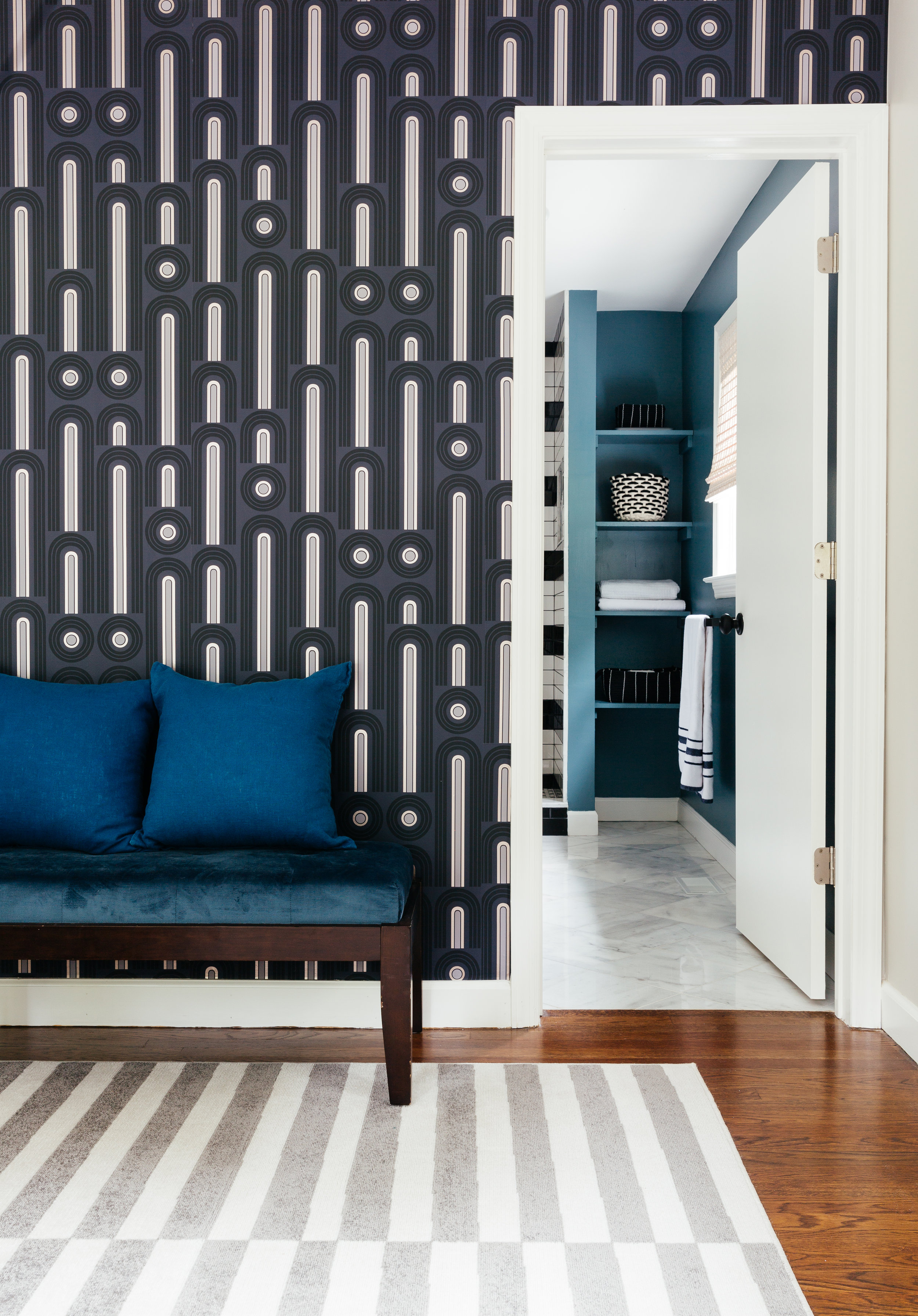 bold patterned master suite design by the rath project
