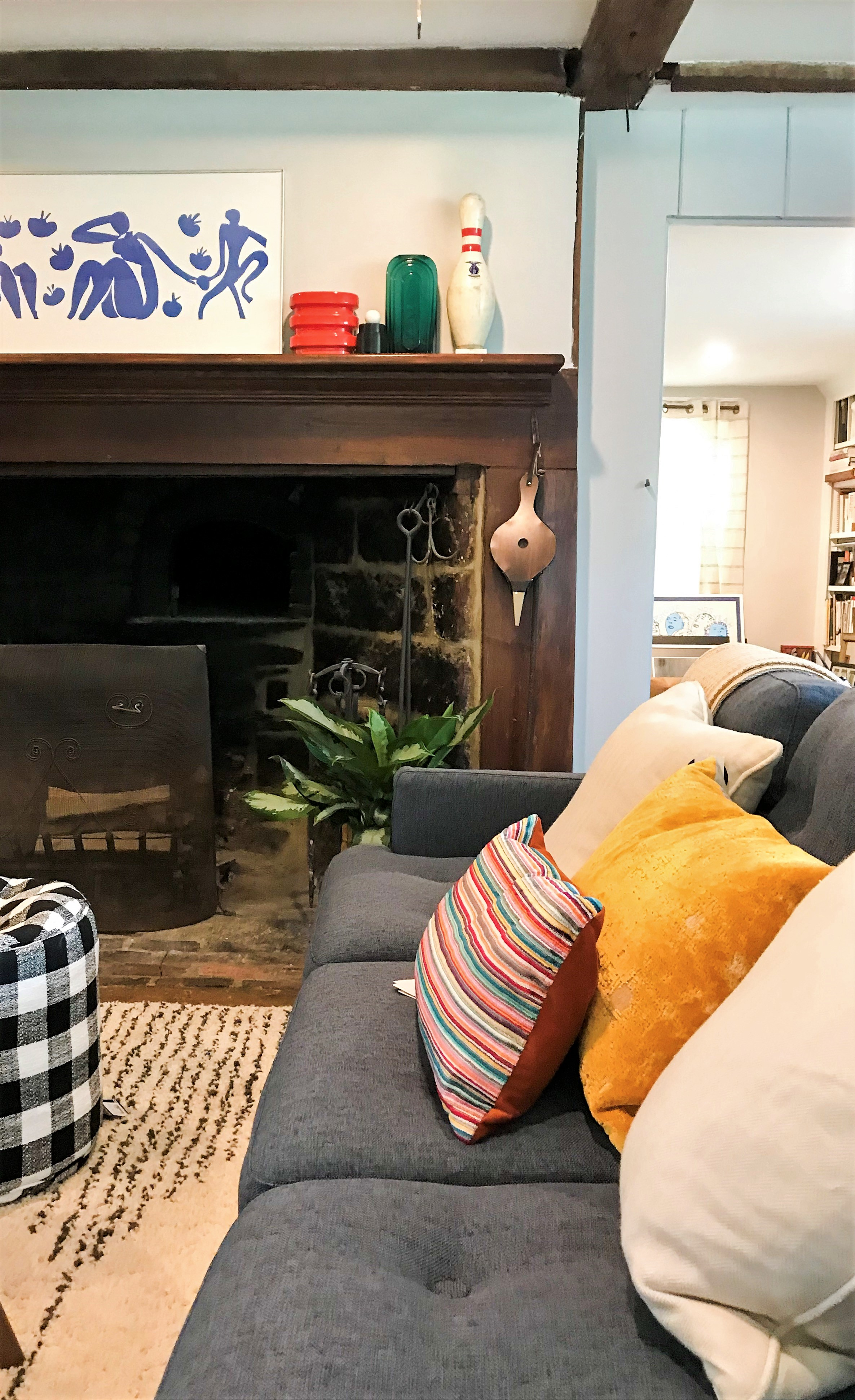 Antique farmhouse living room & fireplace gone Mod (One Room Challenge) by The Rath Project