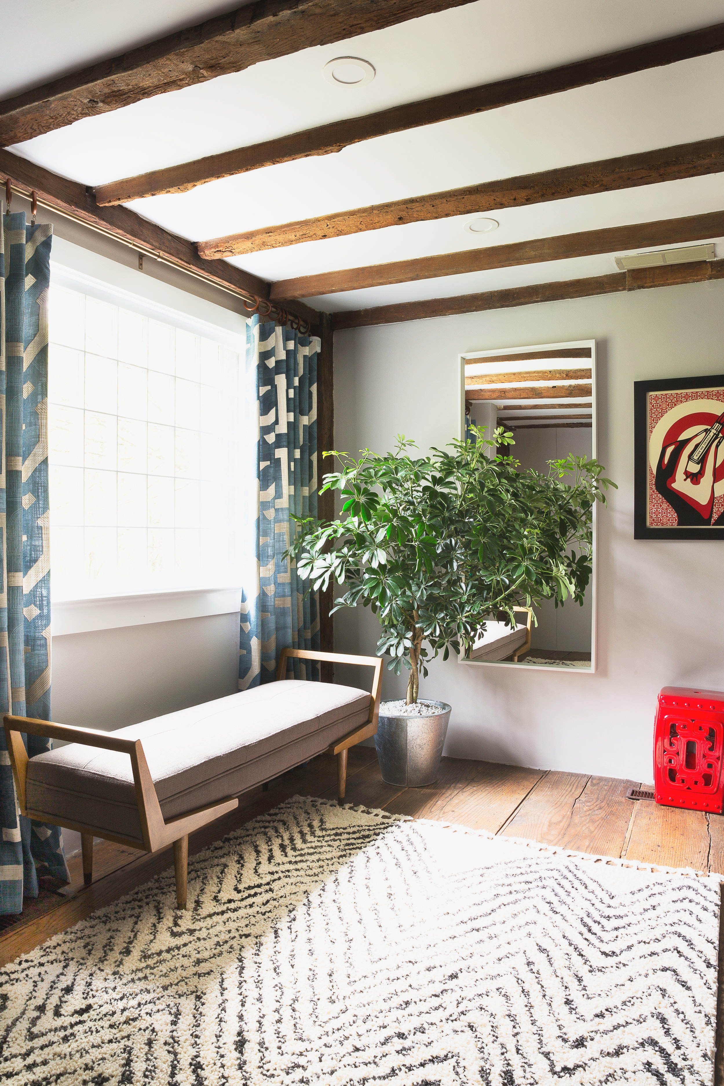HIstoric Farmhouse living room turned mid century modern retreat with custom drapery panels designed by the Rath Project