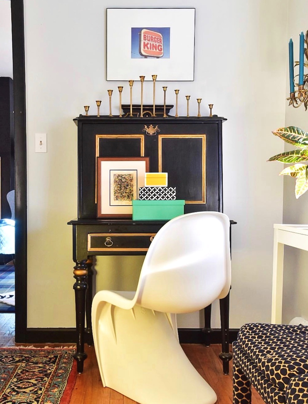 eclectic mix dining room vignette by the rath project