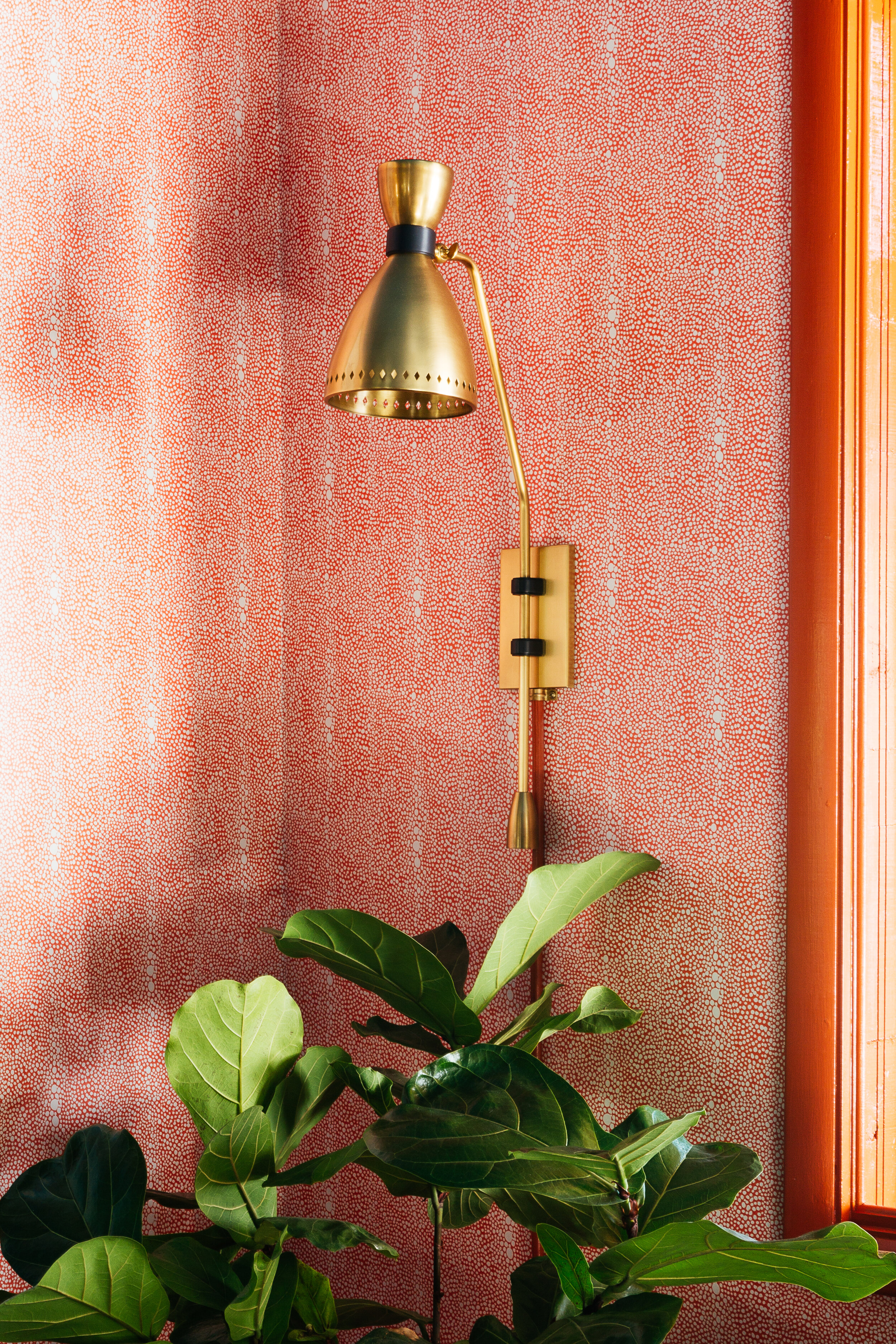 ORC dining room close up of Hudson Valley lighting sconce and spoonflower wallpaper.jpg
