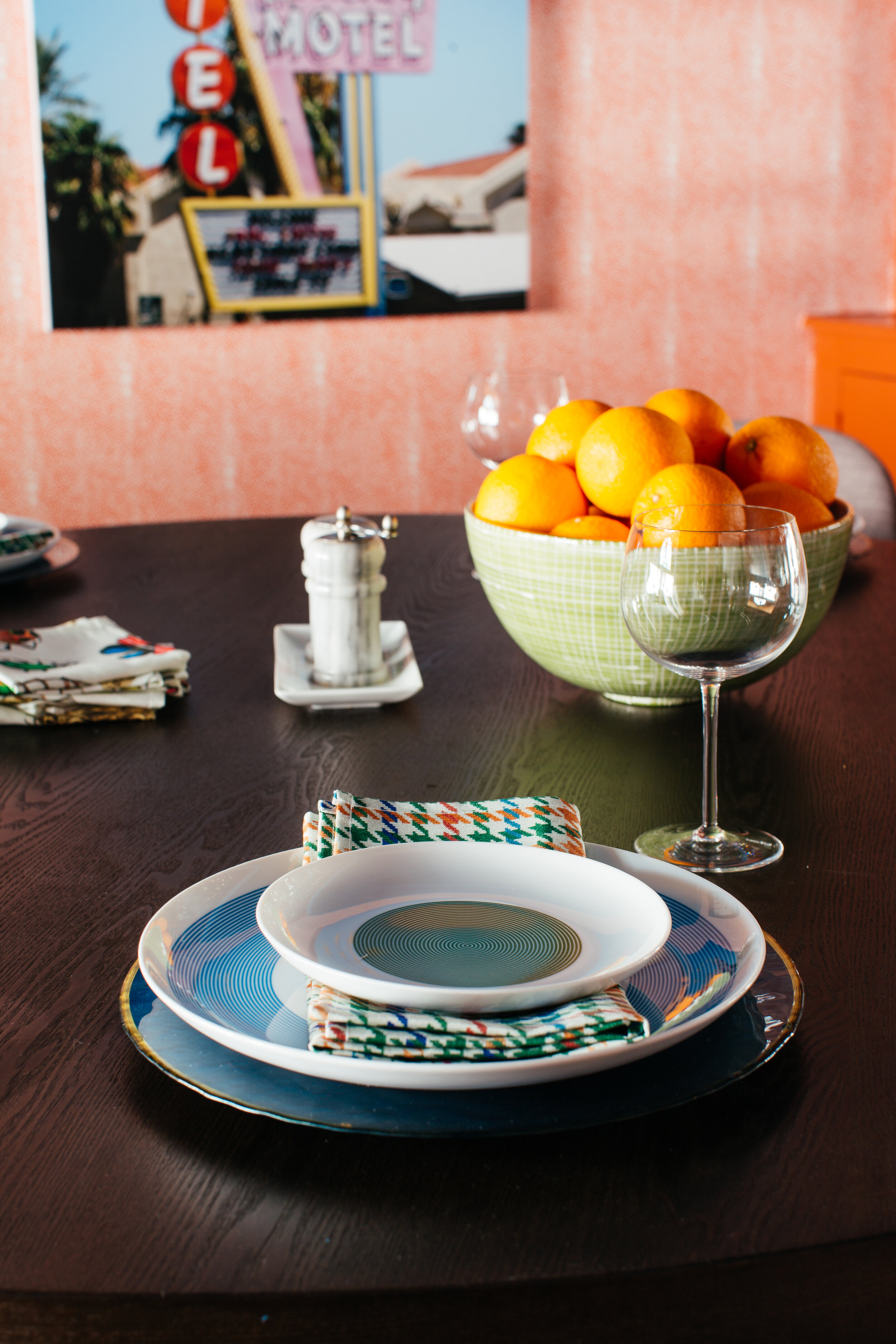 ORC dining room table setting  by theRathProject and jill rosenwald bowl.jpg