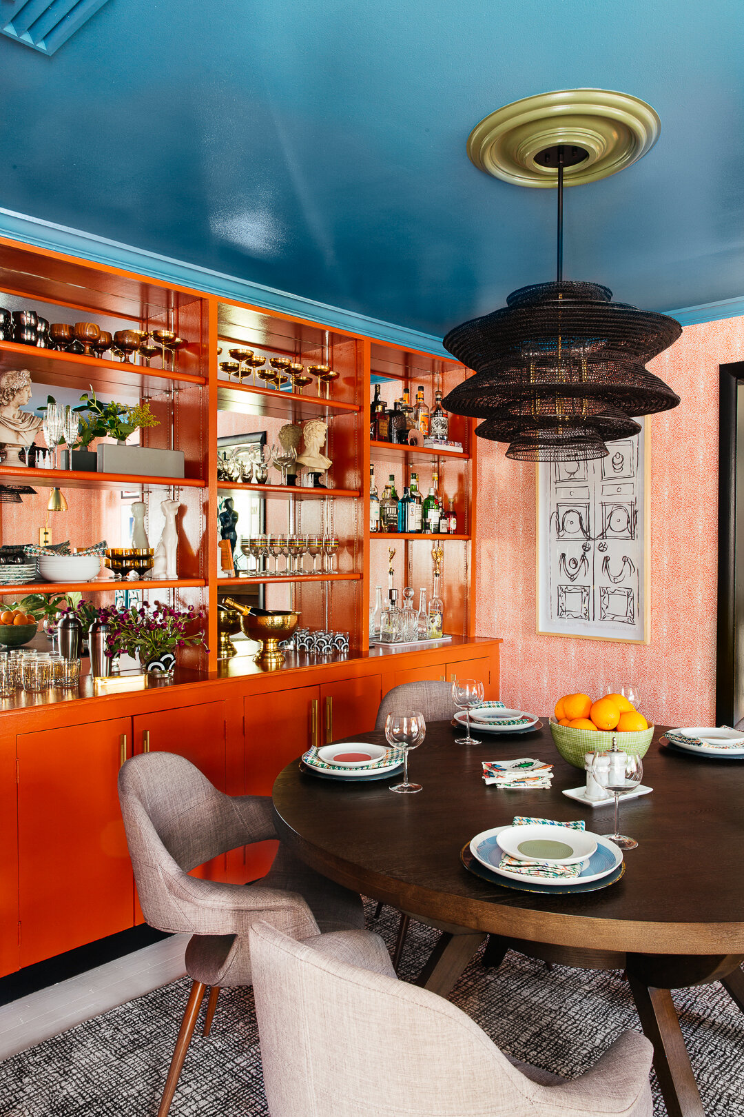 sm ORC dinig room blue ceiling green medallion orange built in bookshelves by TheRathProject.jpg