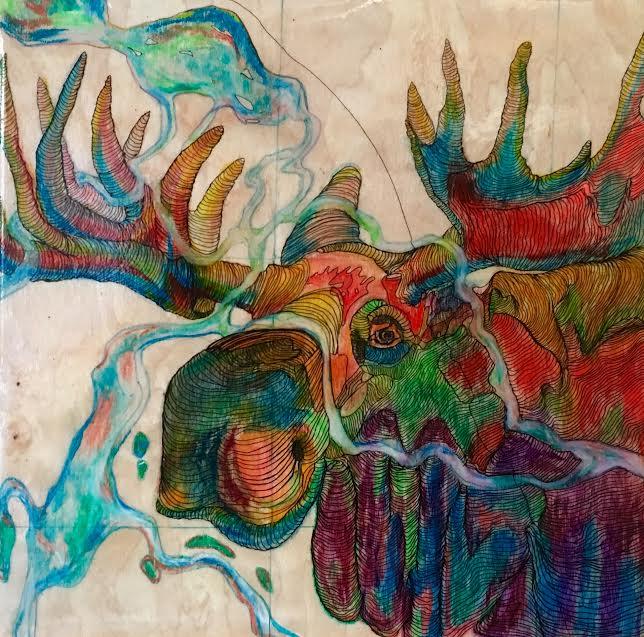 Moose Map,  12'x12', SOLD