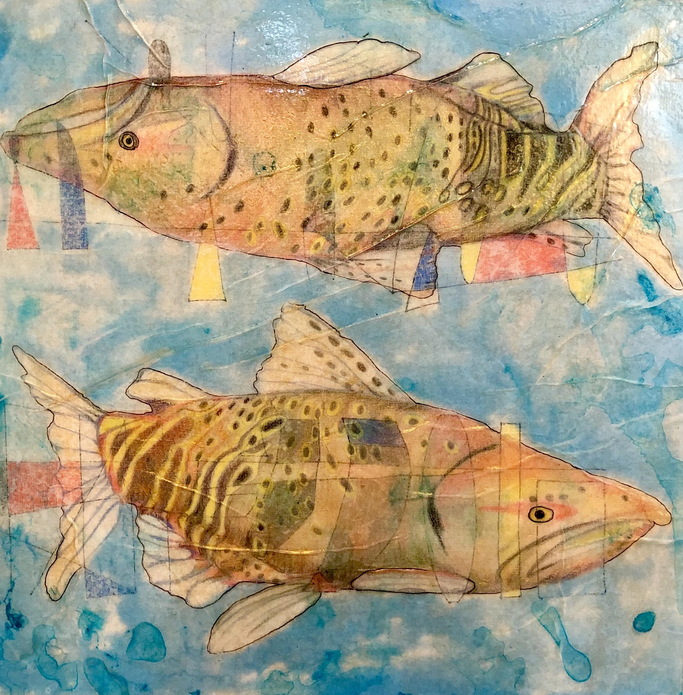 """Salmon Run II,   12""""x12"""", paper, crayon, ink, acrylic"""