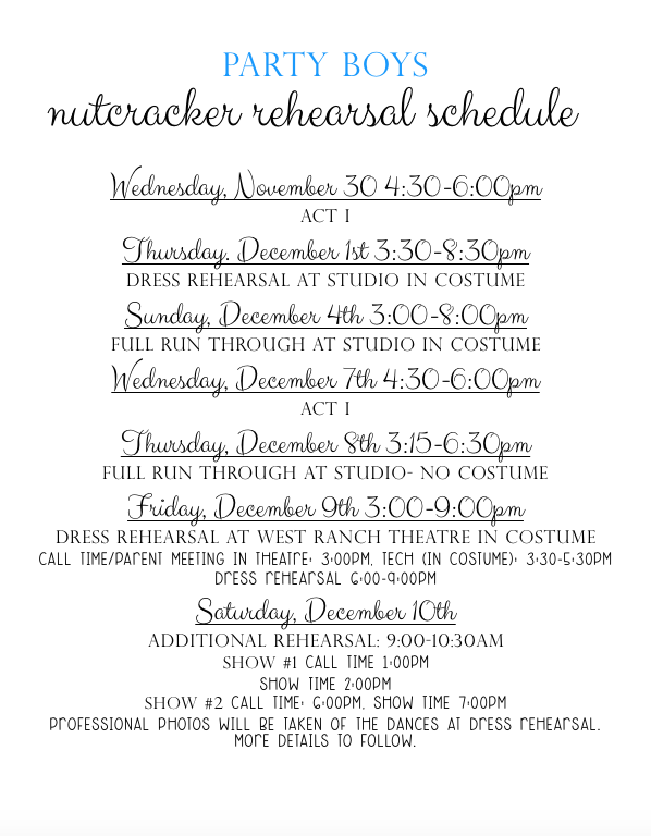 CLICK HERE FOR A PRINTABLE PARTY BOY REHEARSAL SCHEDULE