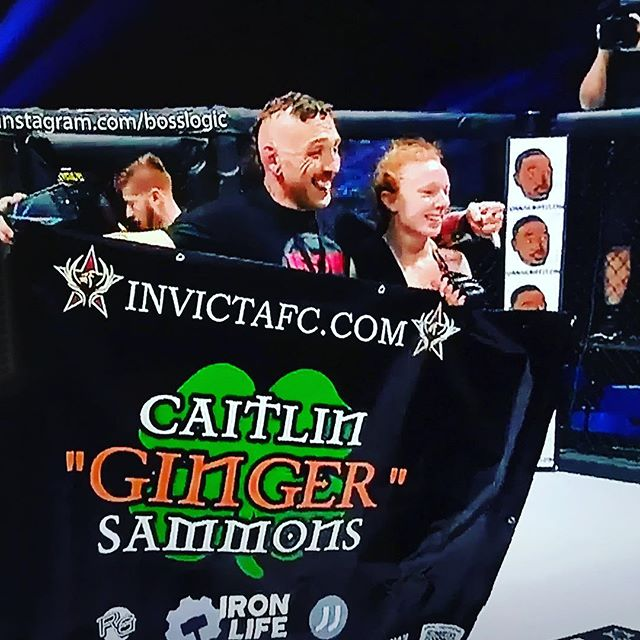 Congratulations to Caitlin 'Ginger' for winning her professional debut in INVICTAFC. It's an honor to be one of her sponsors.  #invictafc34 @caitlinsammonsmma #kansascity #jujitsu #wrestling #mma #ufc #boxing @drinkjjjuice