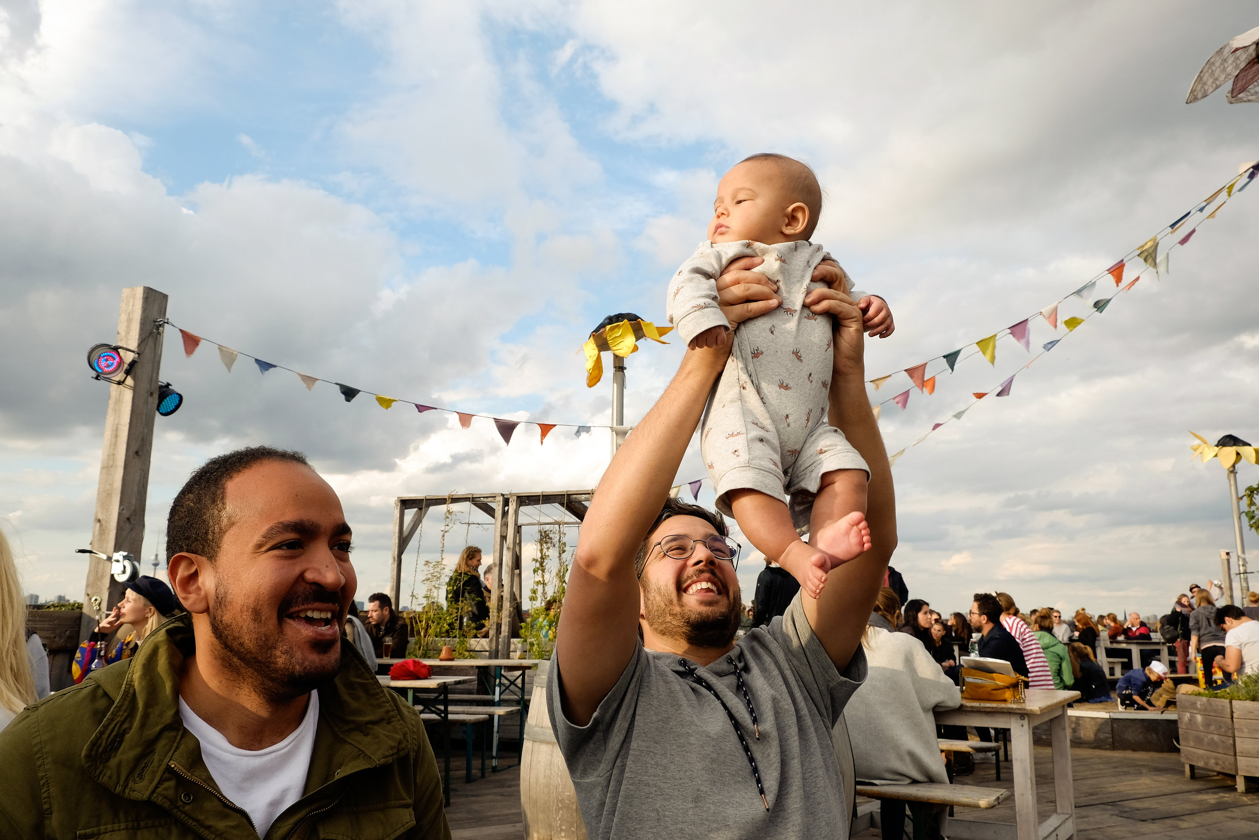 Baby Ezekiel just legally enjoying his Sunday afternoon at Klunkerkranich, a rooftop bar in Berlin.
