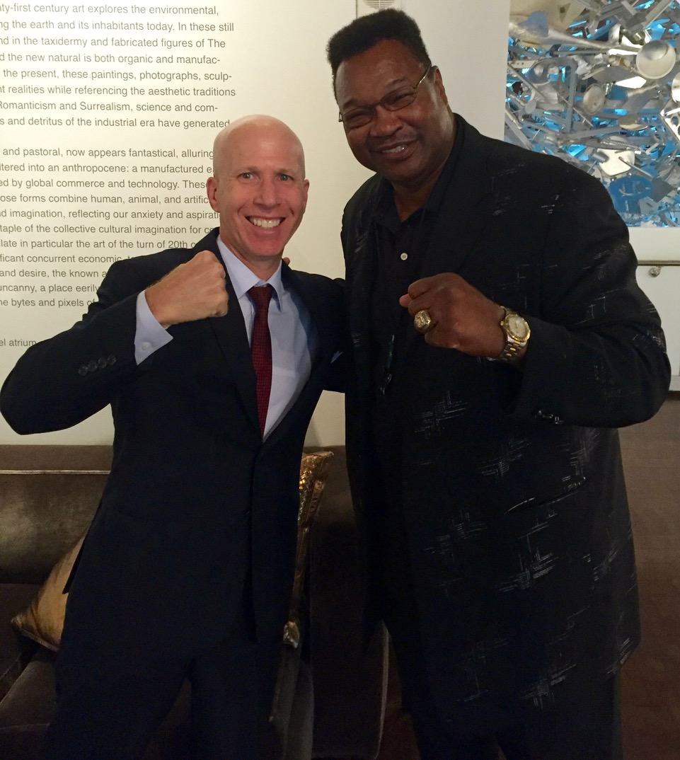 Jonathan Eig with Larry Holmes, Ali's opponent in the 1980 world heavyweight championship.