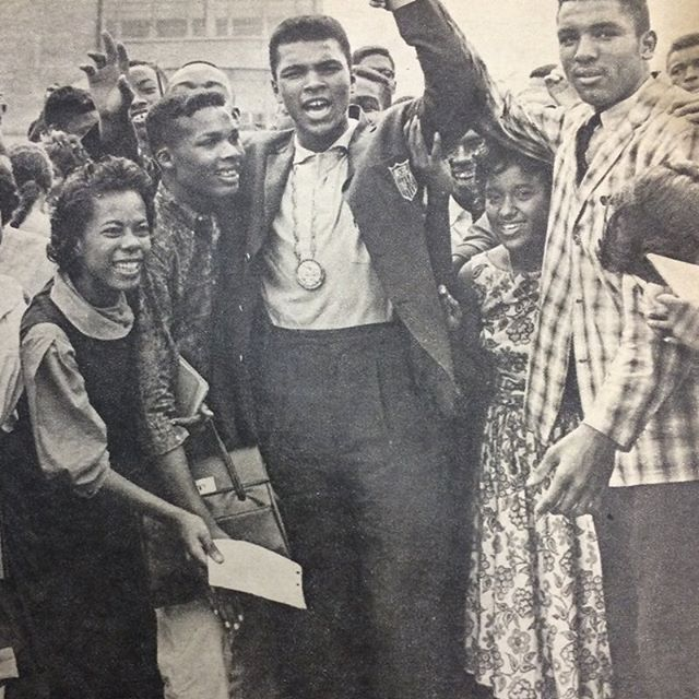 #TBT Ali celebrating his Olympic gold medal with his classmates in Louisville. #MuhammadAli #AliALife #Olympian #OlympicGoldMedal #Champion
