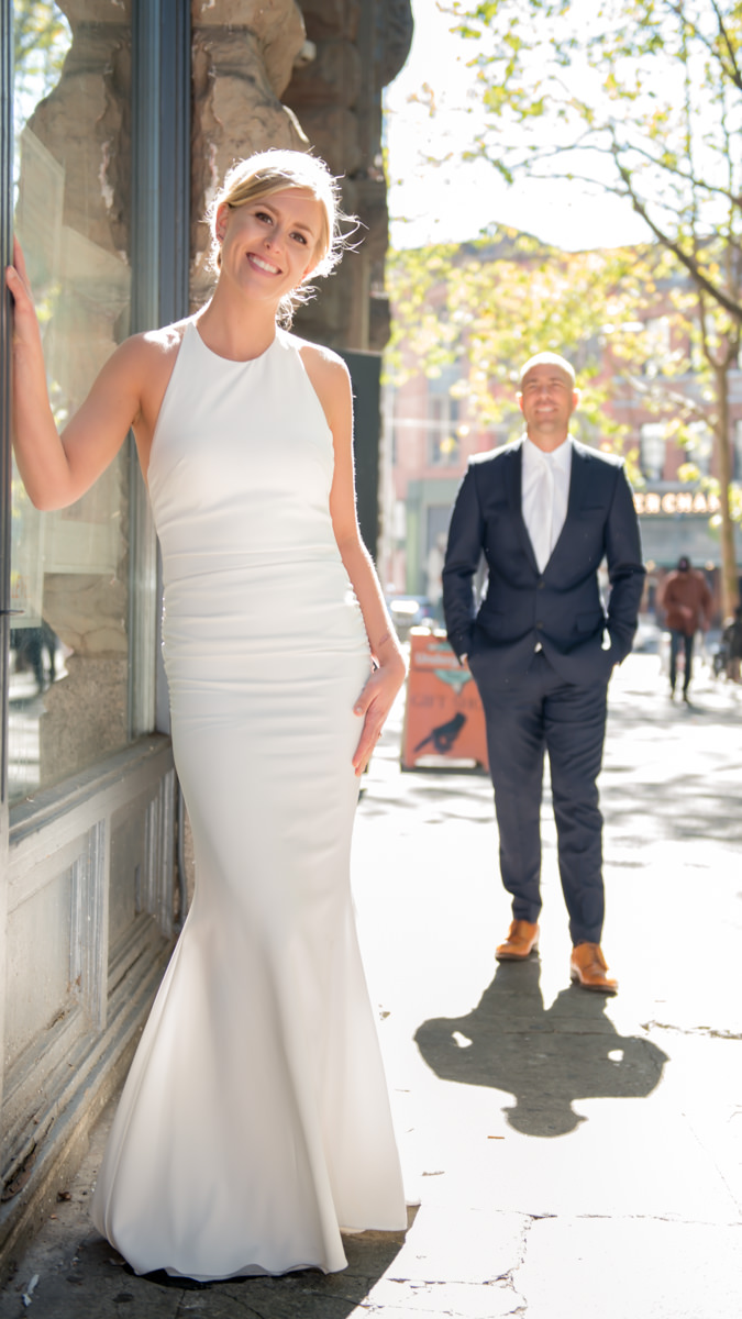 Bride Portrait City Wedding Seattle Pioneer Square Dress Theory Modern Gown.jpg