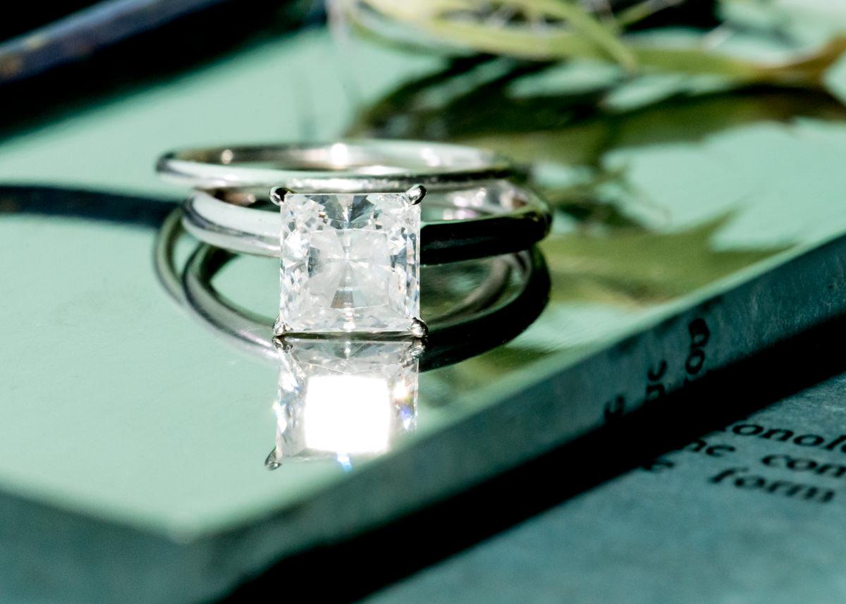 Tiffany Co Engagement Ring Princess Diamond Woodinville Bridal Portrait.jpg