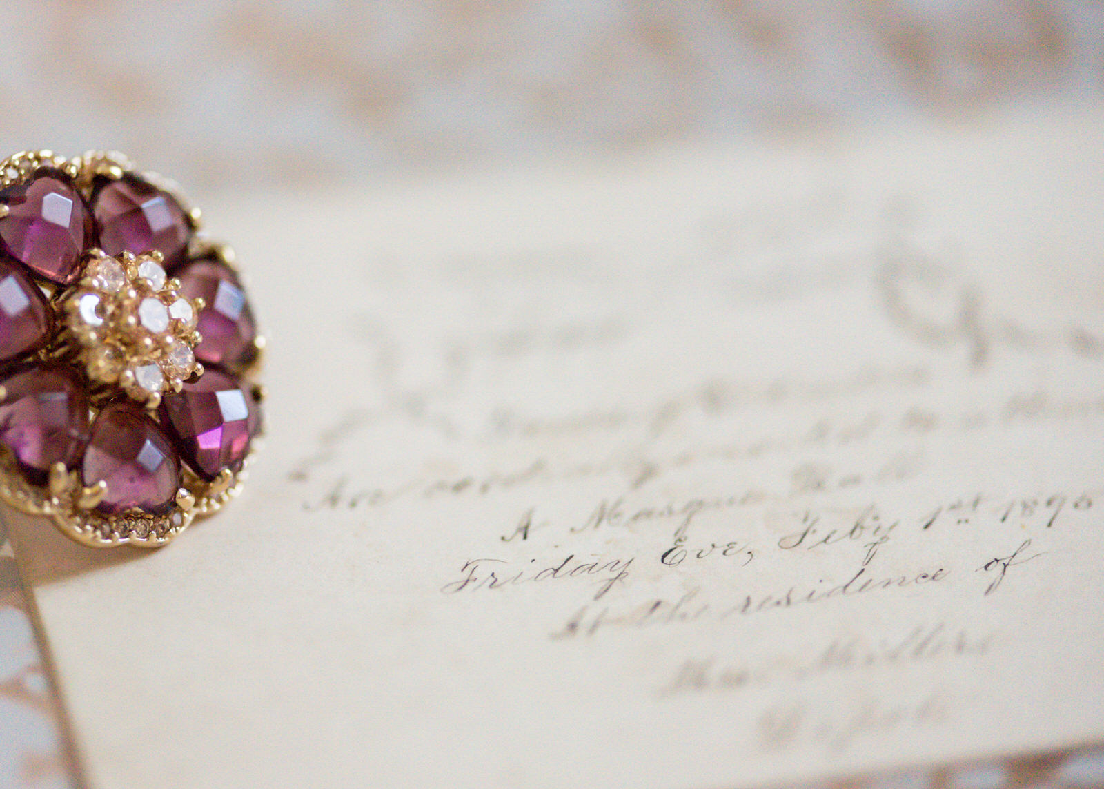 Handwritten Invitation Calligraphy Vintage Woodinville Seattle Wedding Pink Gold Sapphire Ring.jpg