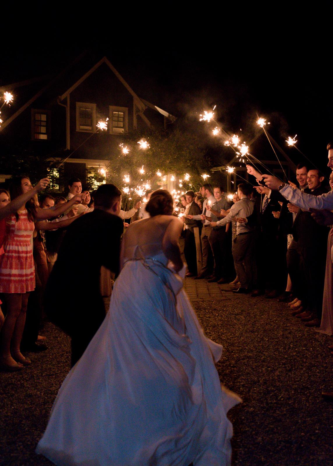 Bride Group Farewell Departure Sparklers Wedding Woodinville Bellevue Dress Theory-1.jpg