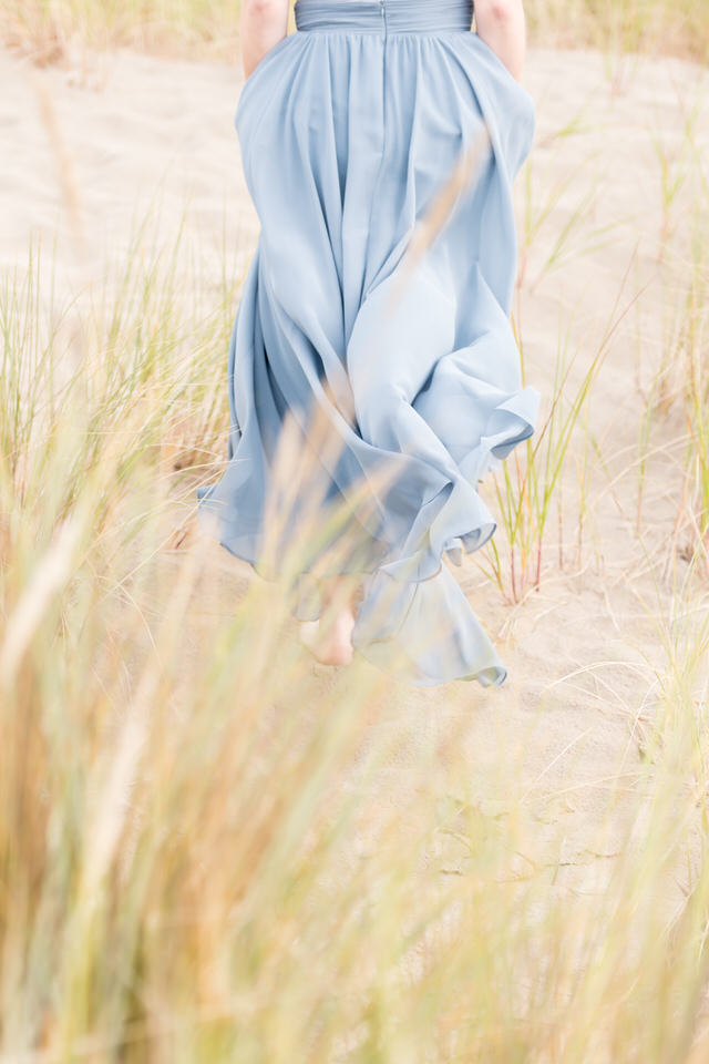 Flowing gown in the grass and beach.  Cannon Beach, OR