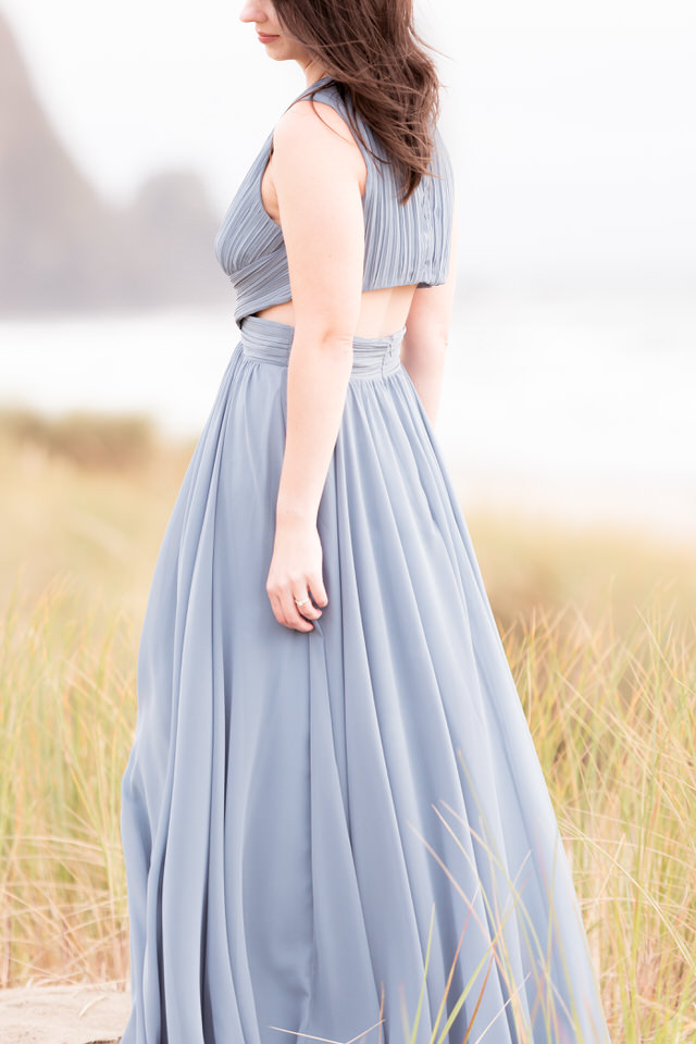 Cannon Beach Engagement Backless Gown Dress