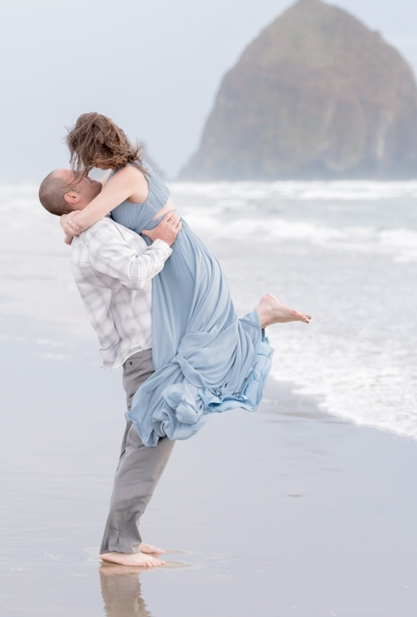 Cannon Beach Haystack Rock Engagement Long Gown Sunset-41.jpg