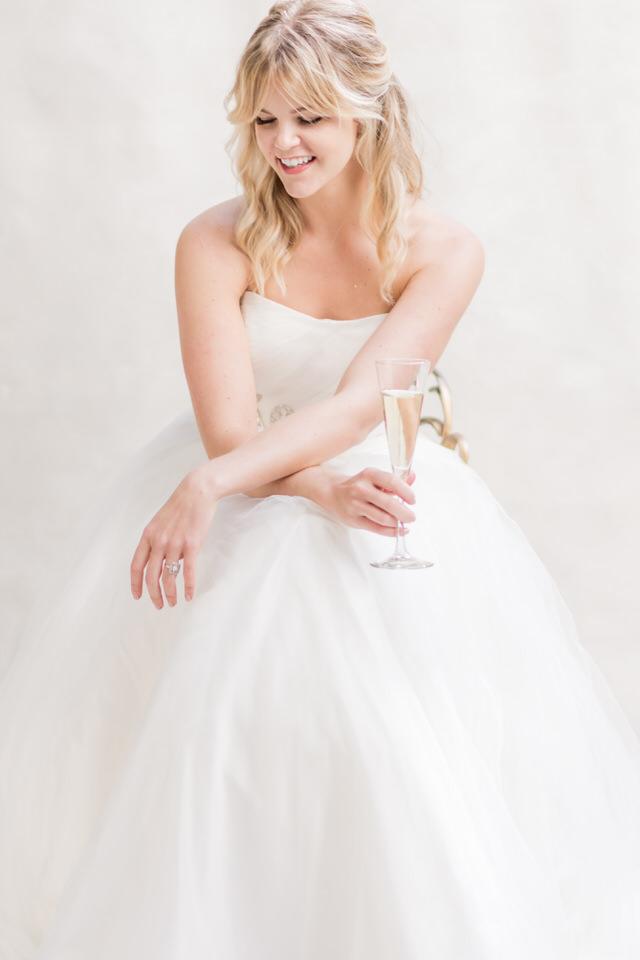 Weddings in Woodinville bridal portraits half updo blond tulle strapless dress light airy Christina Servin Photographs-1.jpg
