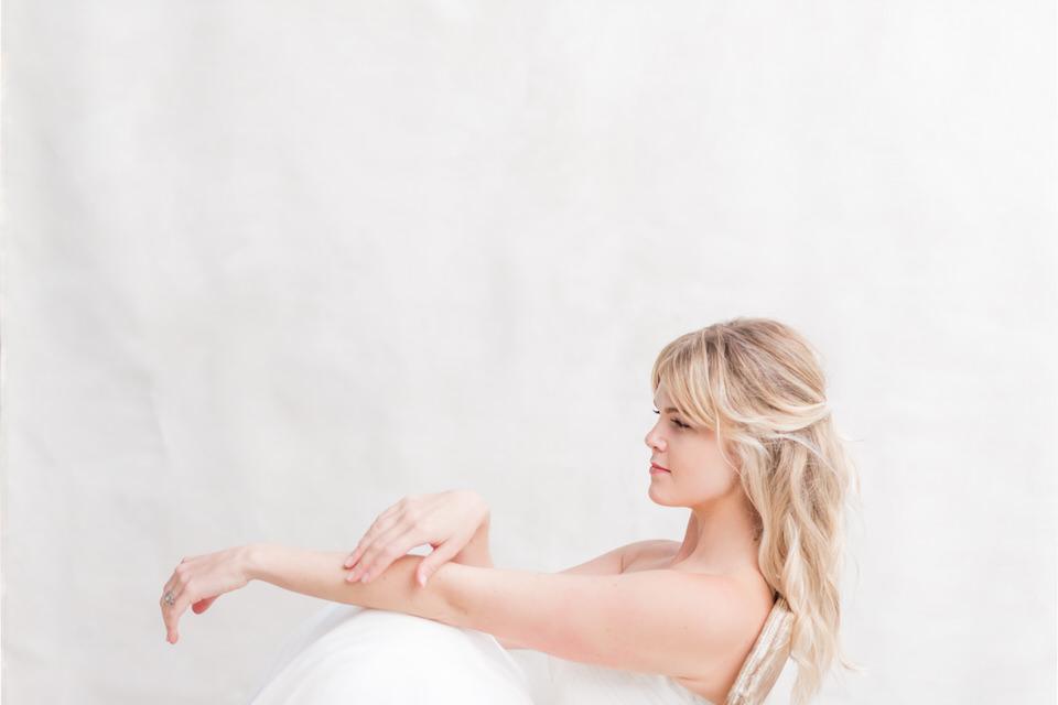 Weddings in Woodinville bridal portraits half updo blond tulle strapless dress light airy Christina Servin Photographs-5.jpg