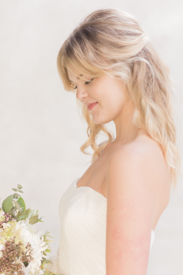 Weddings in Woodinville bridal portraits half updo blond tulle strapless dress light airy Christina Servin Photographs-6.jpg