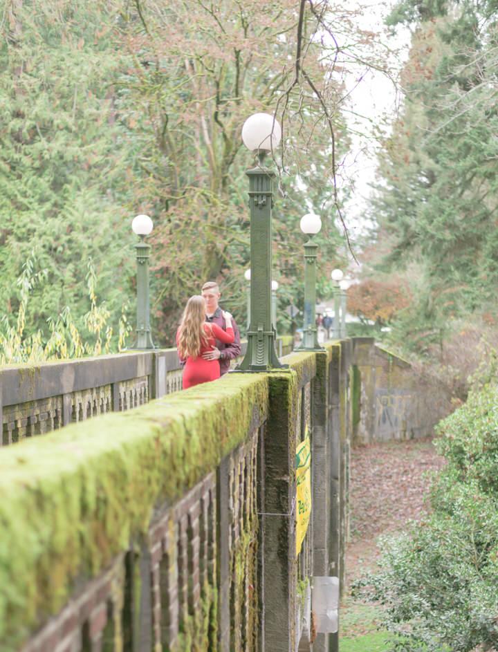 Seattle Engagement C Servin Photographs UW Arboretum Botanic Garden Bridge Fall Red Dress-2.jpg