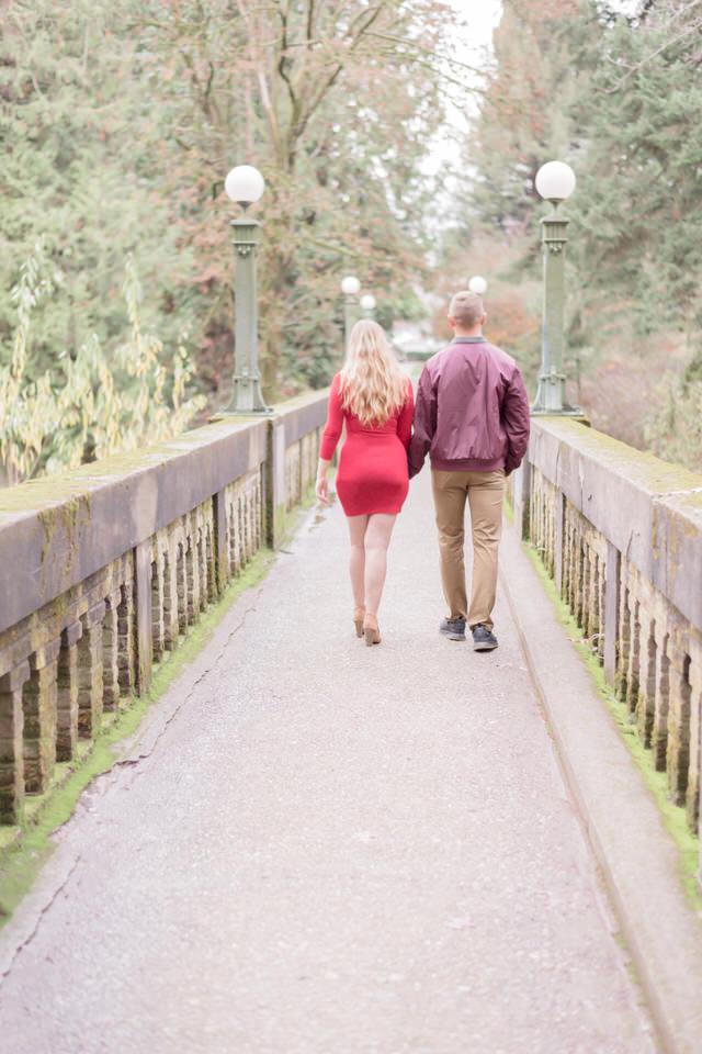 Seattle Engagement C Servin Photographs UW Arboretum Botanic Garden Bridge Fall Red Dress-3.jpg