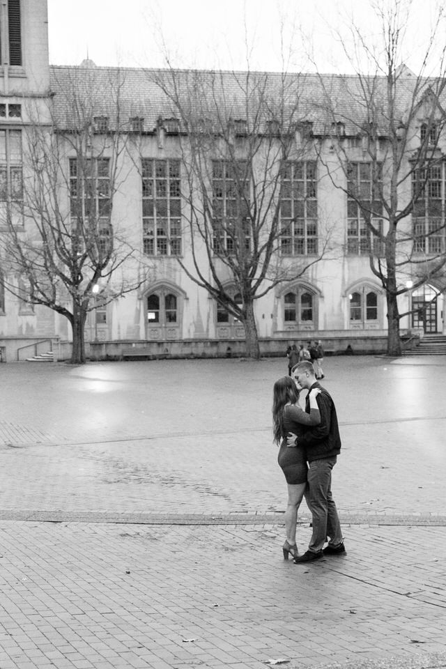 Seattle Engagement C Servin Photographs University of Washington Central Plaza black and white-1.jpg