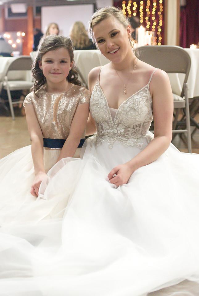 bride with flowergirl Seattle indoor winter wedding church rainy day portrait.jpg