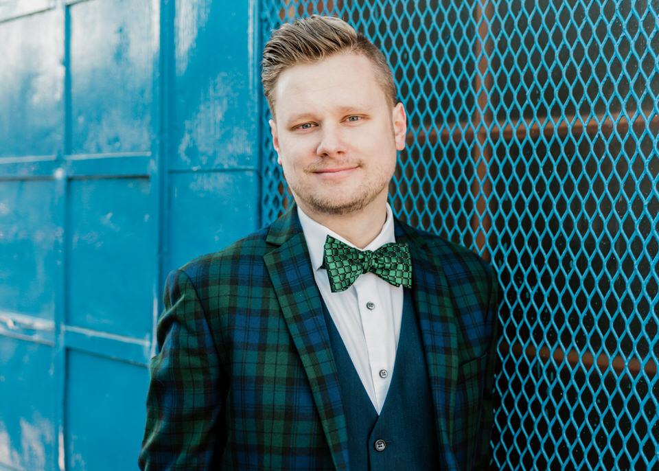 Fremont Bridge Elegant Engagement Session Lace Gown Suit and Bow Tie Seattle CServinPhotographs-4.jpg
