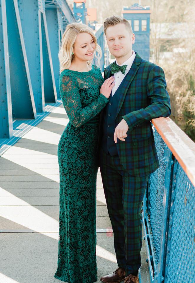 Fremont Bridge Elegant Engagement Session Lace Gown Suit and Bow Tie Seattle CServinPhotographs-7.jpg