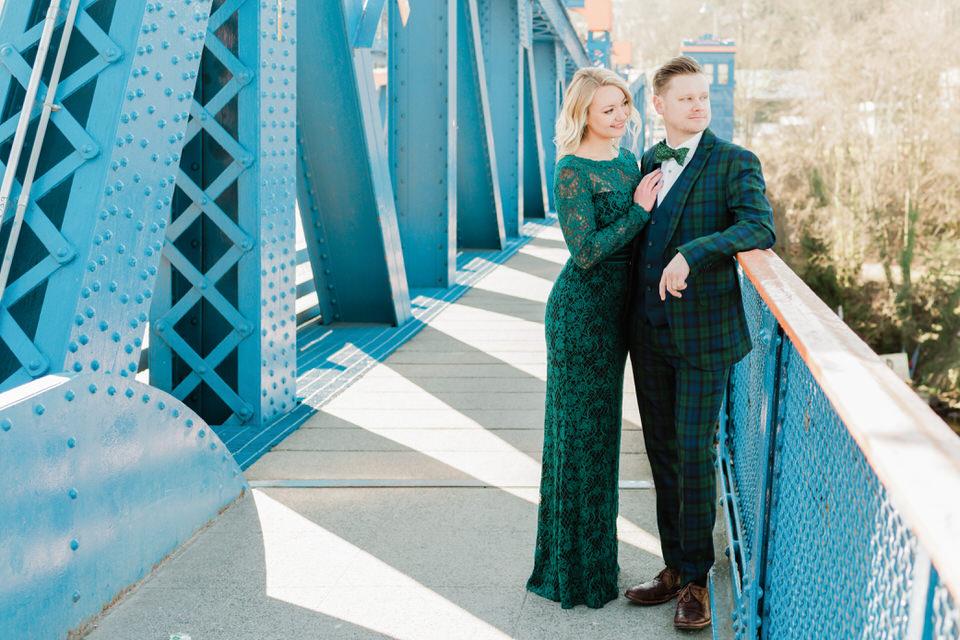 Fremont Bridge Elegant Engagement Session Lace Gown Suit and Bow Tie Seattle CServinPhotographs-8.jpg
