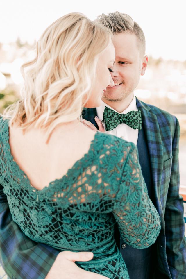Fremont Bridge Elegant Engagement Session Lace Gown Suit and Bow Tie Seattle CServinPhotographs-9.jpg