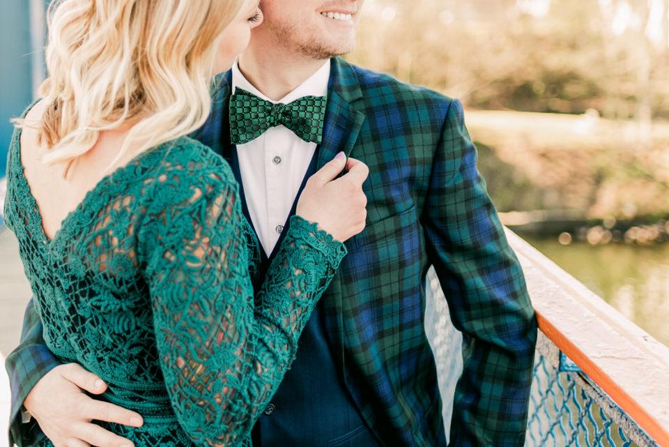 Fremont Bridge Elegant Engagement Session Lace Gown Suit and Bow Tie Seattle CServinPhotographs-15.jpg