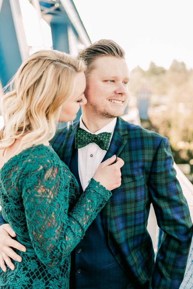 Fremont Bridge Elegant Engagement Session Lace Gown Suit and Bow Tie Seattle CServinPhotographs-16.jpg