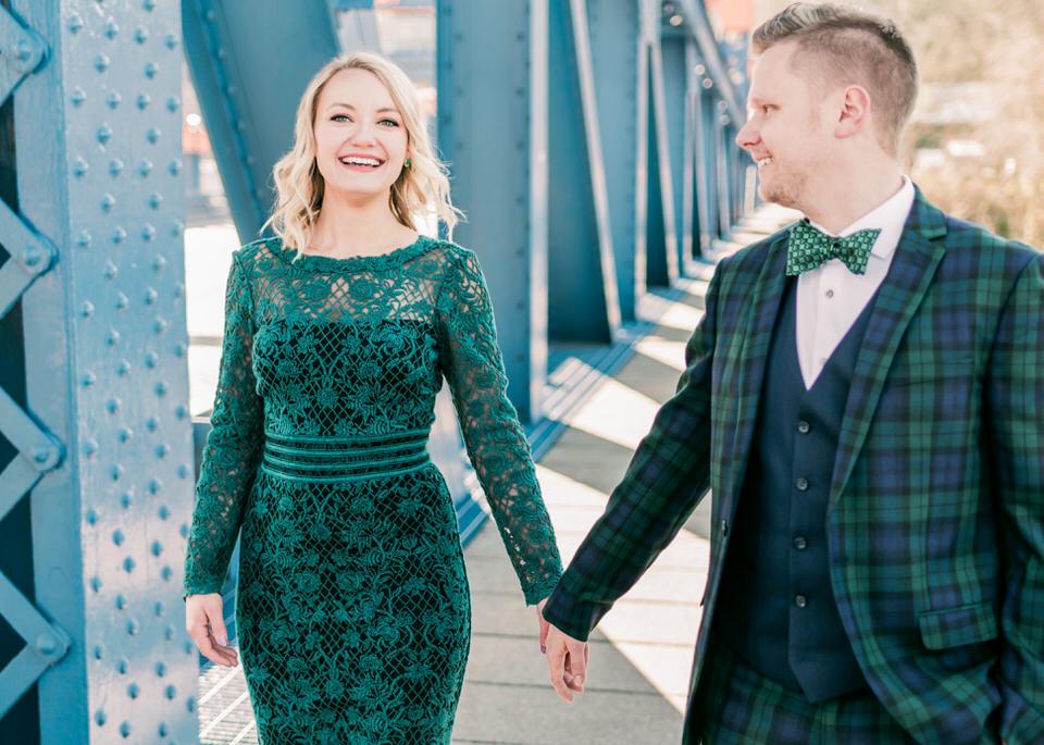 Fremont Bridge Elegant Engagement Session Lace Gown Suit and Bow Tie Seattle CServinPhotographs-23.jpg