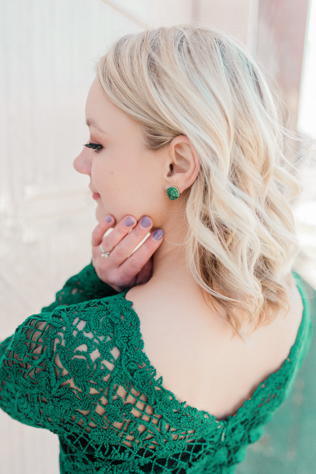 Seattle Fremont Engagement Session Green Lace Winter Gown Louboutin Heels Green Stud Earrings CServinPhotographs-6.jpg