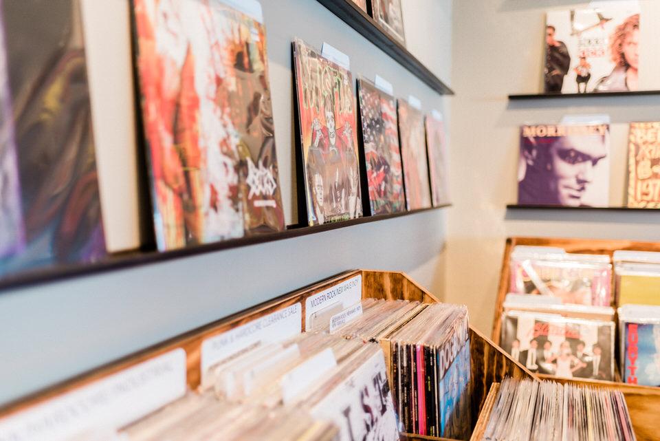 Seattle Fremont Engagement Session CServinPhotographs Film Daybreak Records Vintage Old School Record Shop Session-21.jpg