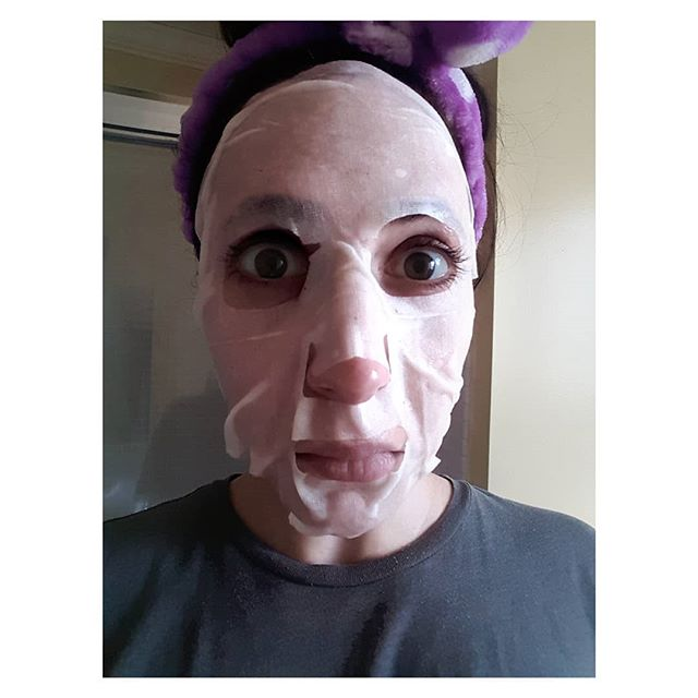 """Free """"sheet mask"""" in mail with my sunscreen order. """"Huh. Sure, I'll give it a try,"""" I innocently thought. I applied the mask. Then I realized I had become Michael Myers. #worstfears #halloween #michaelmyers #horror #horrormovies #nextyearshalloweencostume #peedmypants"""