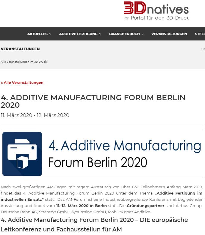 """ADDITIVE MANUFACTURING FORUM Berlin - Nach zwei großartigen AM-Tagen mit regem Austausch von über 850 Teilnehmern Anfang März 2019, findet das 4. Additive Manufacturing Forum Berlin 2020 unter dem Thema """"Additive Fertigung im industriellen…"""