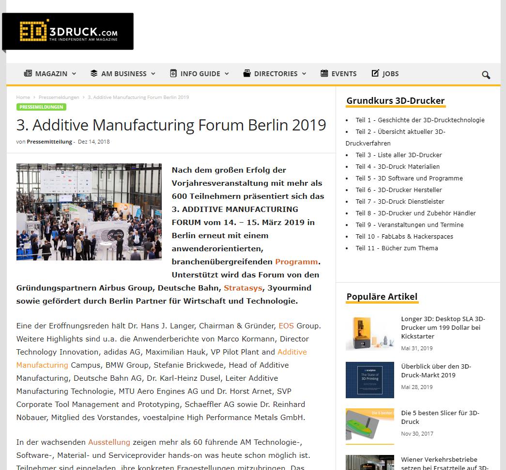 3. Additive Manufacturing Forum Berlin 2019 - Nach dem großen Erfolg der Vorjahresveranstaltung mit mehr als 600 Teilnehmern präsentiert sich das 3. ADDITIVE MANUFACTURING FORUM vom 14. – 15. März 2019 in Berlin erneut mit einem anwenderorientierten…