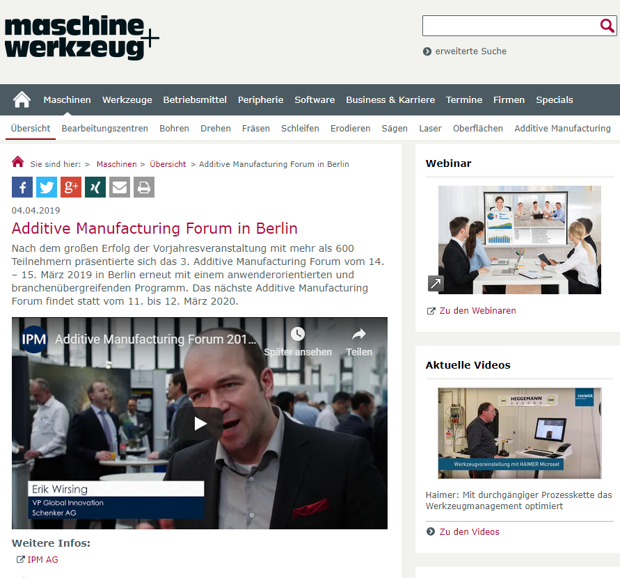 Additive Manufacturing Forum in Berlin - Nach dem großen Erfolg der Vorjahresveranstaltung mit mehr als 600 Teilnehmern präsentierte sich das 3. Additive Manufacturing Forum vom 14. – 15. März 2019 in Berlin erneut mit…