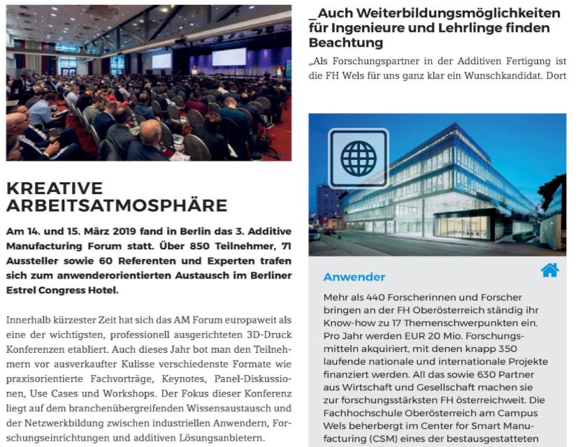 Kreative Arbeitsatmosphäre - Am 14. und 15. März 2019 fand in Berlin das 3. Additive Manufacturing Forum statt. Über 850 Teilnehmer, 71 Aussteller sowie 60 Referenten und Experten trafen sich zum…